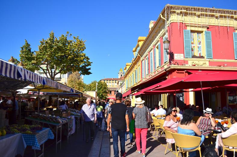 Mercado de flores e frutas em Nice